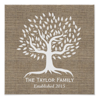 Rustic Burlap Vintage Tree Family Name Established Poster
