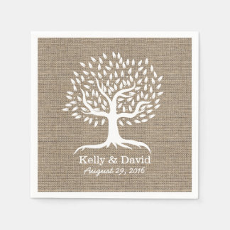 Rustic Burlap Vintage Tree Wedding Disposable Napkins