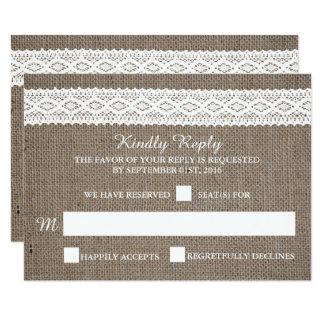 "Rustic Burlap & Vintage White Lace Wedding RSVP 3.5"" X 5"" Invitation Card"