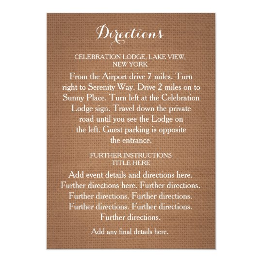 Rustic Burlap Wedding Directions Card
