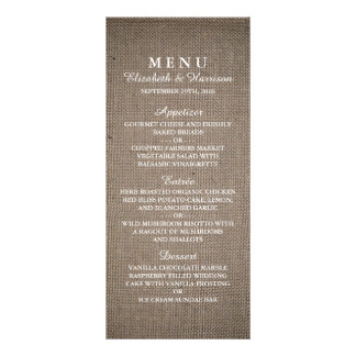 Rustic Burlap Wedding Menu