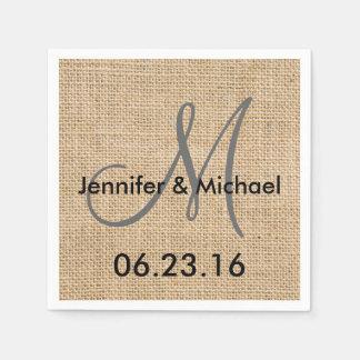 Rustic Burlap Wedding Monogram Names Date Disposable Napkin