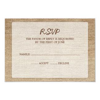 "Rustic Burlap Wedding RSVP Response Card 3.5"" X 5"" Invitation Card"