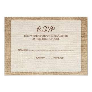 Rustic Burlap Wedding RSVP Response Card Personalized Invites