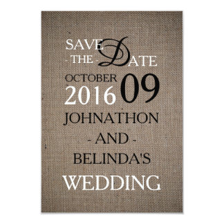 Rustic Burlap Wedding Save The Date Card