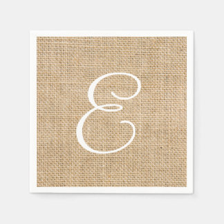 Rustic Burlap Wedding Simple Monogram Disposable Napkins
