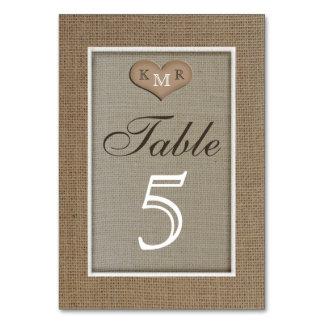 Rustic Burlap Wedding Table Numbers Cards