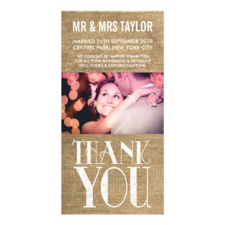 Rustic Burlap Wedding Thank You Photo Cards Picture Card