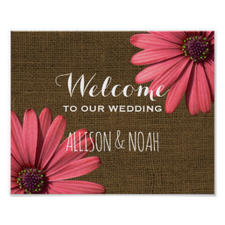 Rustic Burlap Wedding Welcome Sign | Floral Daisy Poster