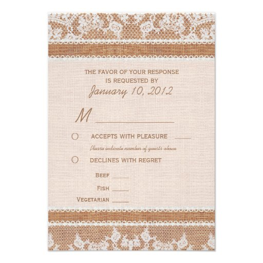 Rustic Burlap & White Lace RSVP with Meal Options Personalized Announcement