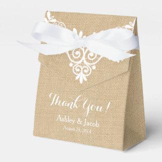 Rustic Burlap White Lace Wedding Thank You Favor Box
