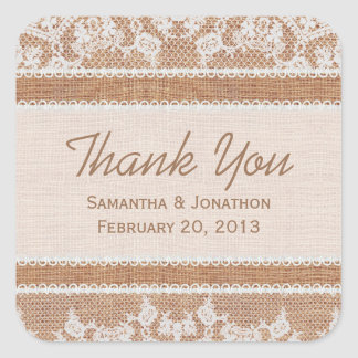 Rustic Burlap & White Lace Wedding Thank You Square Stickers
