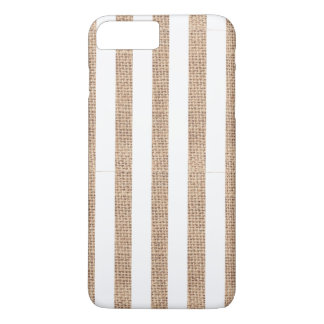 Rustic Burlap & White Stripe Phone Case