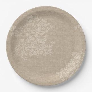 Rustic Burlap With Antique Flower Paper Plate