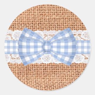 Rustic Burlap with Blue Gingham Wedding Round Sticker