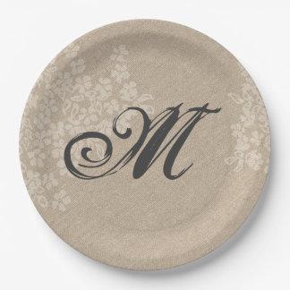 Rustic Burlap With Elegant Wedding Monogram Paper Plate