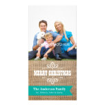 Rustic Burlap with Teal Banner Photo Christmas Photo Card