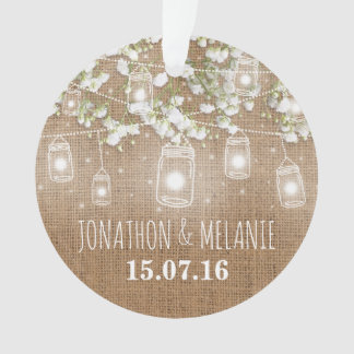 Rustic Burlap with Twinkle Mason Jars | Couple Ornament