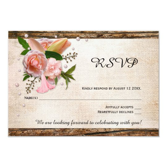Rustic Burlap Wood Pink Floral Wedding RSVP Card