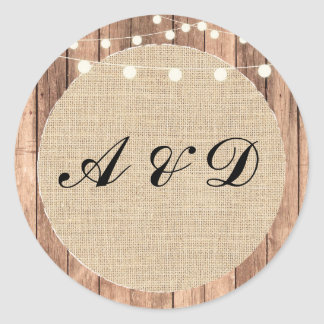 Rustic Burlap Wood Wedding Stickers I DO BBQ Label