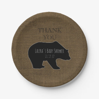 Rustic Burlap | Woodland Boy Baby Shower Paper Plate