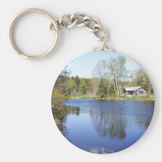 Rustic Cabin on Water Get-A-Way Keychain