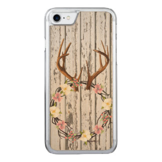 Rustic Cabin Wall Wreath on Antlers Carved iPhone 7 Case