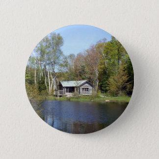 Rustic Cabin Water Scene 2 Inch Round Button