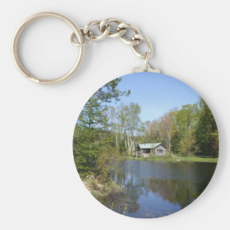 Rustic Cabin Water Scene Basic Round Button Keychain