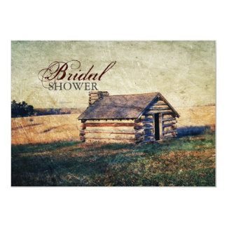 """rustic cabin western country bridal shower 5"""" x 7"""" invitation card"""