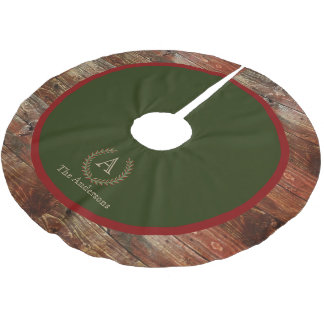 Rustic Cabin Wood Monogram Family Name Brushed Polyester Tree Skirt