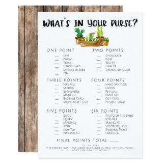 "Rustic Cactus Bridal Shower Game-Purse 5"" X 7"" Invitation Card"