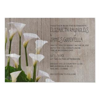 Rustic Calla Lillies Wedding Invitations