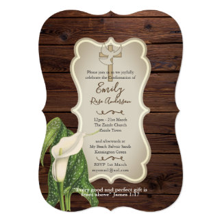 Rustic Callalily CONFIRMATION Invites  Bible Verse