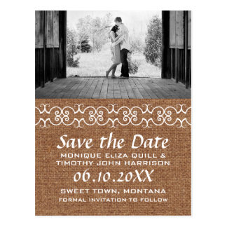 Rustic Calligraphic Faux Burlap Save the Date Postcard