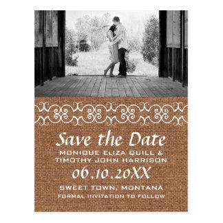 Rustic Calligraphic Faux Burlap Save the Date Postcard
