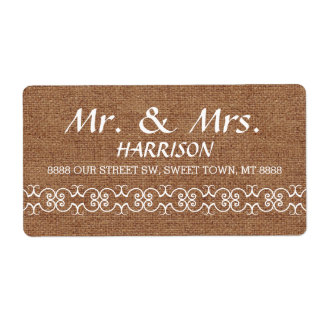 Rustic Calligraphy Ornate Burlap Wedding Shipping Label
