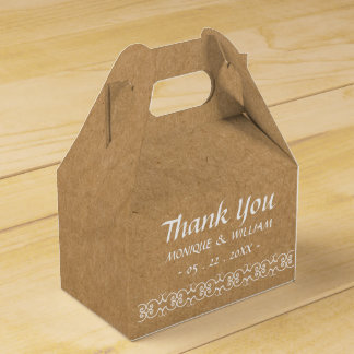 Rustic Calligraphy Ornate Paper Wedding Thank You Wedding Favor Box