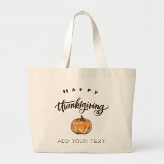 Rustic Calligraphy Thanksgiving Pumpkin Large Tote Bag