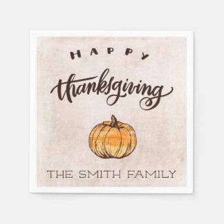 Rustic Calligraphy Thanksgiving Pumpkin Paper Napkin