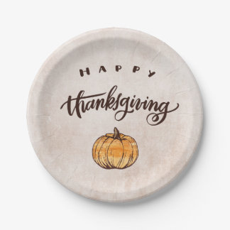 Rustic Calligraphy Thanksgiving Pumpkin Paper Plate