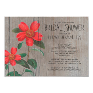 Rustic Camellia Bridal Shower Invitations