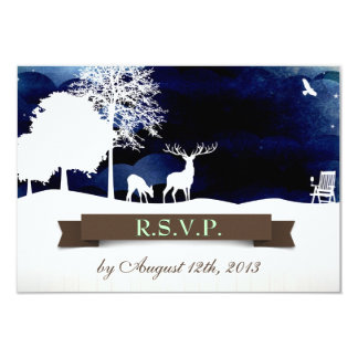 Rustic Campground Wedding RSVP with Deer and Trees Card