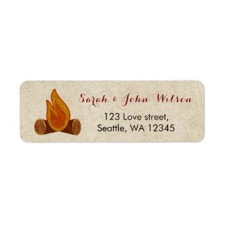 Rustic Camping Wedding address label