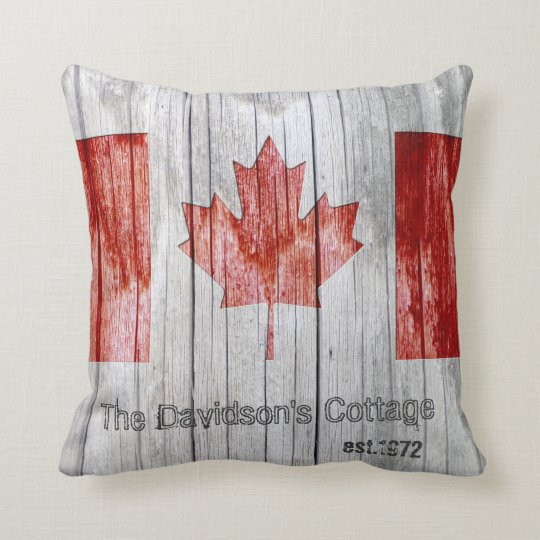 Rustic Canada Maple Leaf Flag Design on Grey Wood Throw Pillow