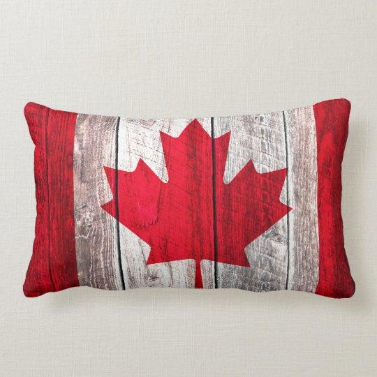 Rustic canadian flag red maple design lumbar pillow