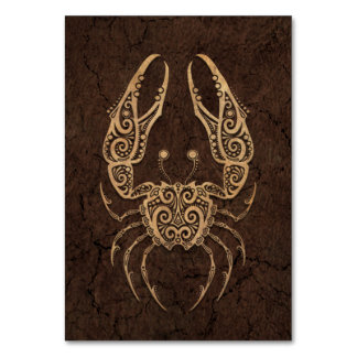 Rustic Cancer Zodiac Sign on Stone Effect Table Cards