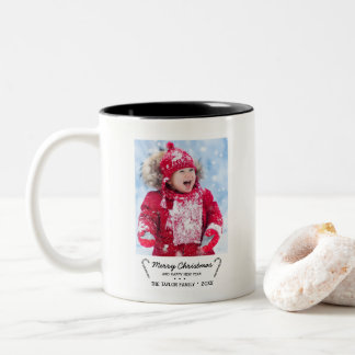 Rustic Candy Cane Christmas Photo Two-Tone Coffee Mug