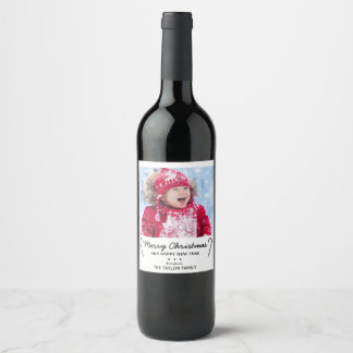 Rustic Candy Cane Christmas Photo Wine Label