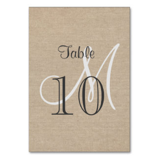 Rustic Canvas Wedding Monogram Table Number Table Card